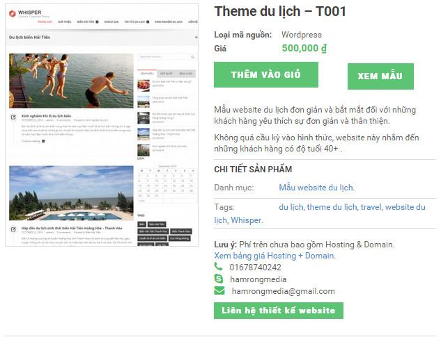 công ty thiết kế web du lịch Hàm Rồng Media cung cấp mẫu website du lịch theme 1 giá rẻ